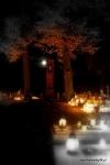 Cmentarz w Głubczynie nocą